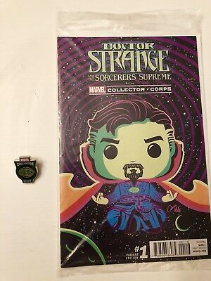 Doctor Strange #1 Comic Marvel Collector Corps Variant and Eye of Agamotto Pin