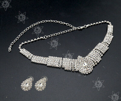 White Party Wedding Bridal Diamante Crystal Necklace Earrings Jewelry Set