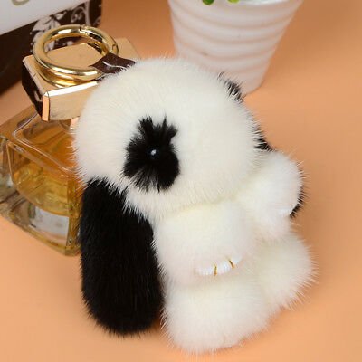 Soft Cute Real Mink Fur Plush Furry Charm Rabbit Car Key Chain Keychain Keyring