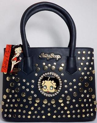Betty Boop Bling Faux Leather Purse Handbag Satchel Official Licensed Black #2