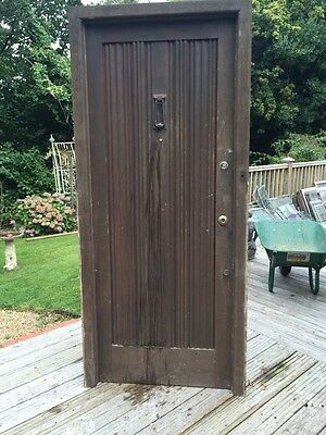 SOLID OAK FRONT DOOR AND FRAME ANTIQUE PERIOD OLD WOOD RECLAIMED WOOD 1900s.