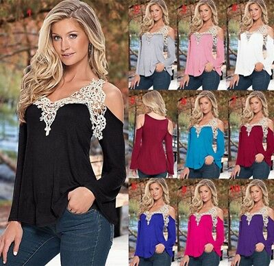 New Summer Tops Womens Ladies Loose Casual Off shoulder Sexy Lace T Shirt Blouse