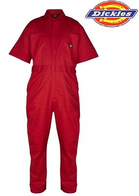 Boilersuit Dickies Lightweight Short Sleeved Cotton Overalls Coverall RED WD2299