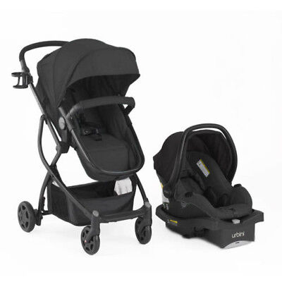 Black Travel System Stroller Reversible Baby Car Seat Safety Child Push Chair
