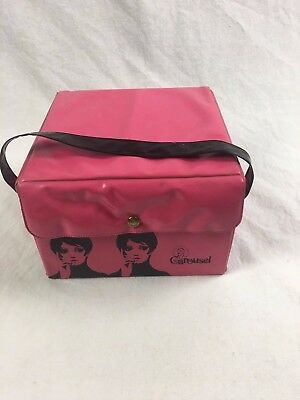 Vintage Hot Pink Black Wig Box Vinyl 60s Twiggy Carousel Snap Closure Mod