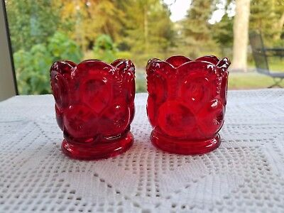 Pair of LG Wright Glass Moon and Stars Ruby Red Toothpick Holders