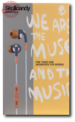 Skullcandy Bombshell Womens In-Ear Headphones with Mic - Navy & Coral Earphones