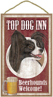 "Top Dog Inn Beerhounds Papillon Bar Sign Plaque dog 10"" x 16"" Beer black white"