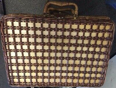 Vintage Suitcase Style Wicker Picnic Basket