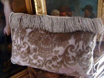 Pillows French antique silk velvet silver metallic trim fringes
