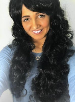 Long Black Curly Full Wig Wavy Cheap Halloween Fancy Dress Fashion Womens Ladies