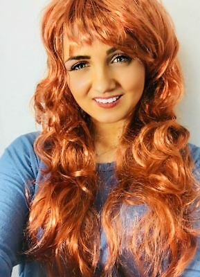 Long Brown Curly Full Wig Wavy Cheap Halloween Fancy Dress Fashion Ginger Ladies