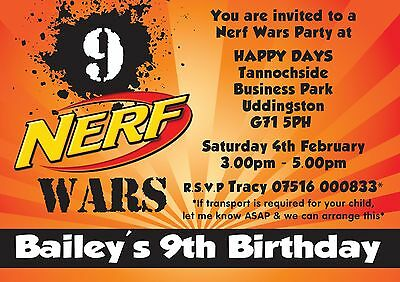 NERF Wars Personalised party/birthday invitations