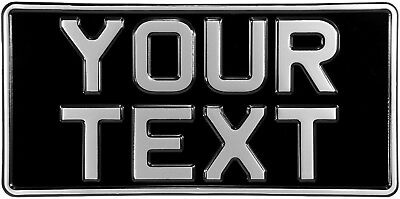 AMERICAN IMPORT 12x6 OLD STYLE METAL BLACK AND SILVER PRESSED NUMBER PLATE TEXT