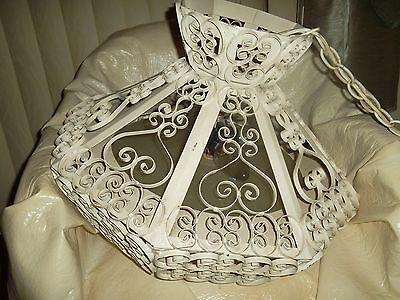 Vintage Metal Scroll Ceiling Light/ Chandelier, Very Ornate, Gothic/ Spanish?