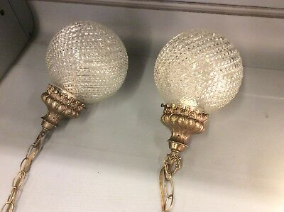 Pair of Vintage Clear Glass Hobnail Pendant Swag Lamps Lights Hollywood Regency