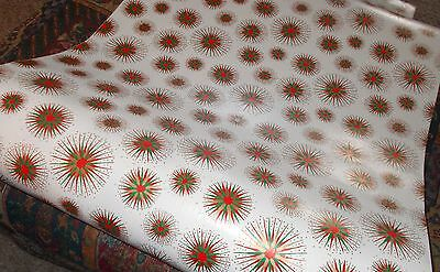 Vtg Christmas 1950 Atomic Age Store Wrapping Paper  2 Yards Red Green Gold Retro