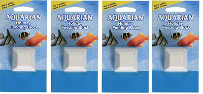 4 x Aquarian 10-Day Holiday Feeder Block Goldfish Tropical Marines 28g FREEPOST