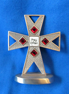 NEW Pewter Standing Cross Pray Often Red Crystals by Campco Gift Box Included