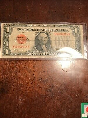 1928 Red Seal One Dollar $1 United States Funny Back Legal Tender Note. Fr.1500