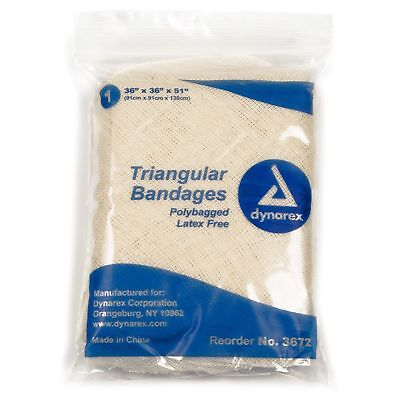 """Dynarex 3672 Triangular Bandages 36""""X36""""X51""""  Polybagged 100% Cotton pack of 5"""