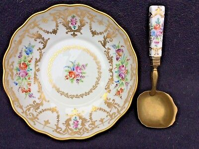 Limoges French porcelain Camille Le Tallec  bowl with spoon