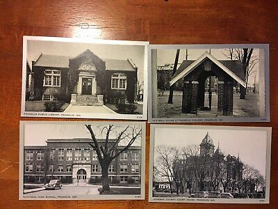 Set of 4 Franklin, Indiana Postcards Buildings. Unposted