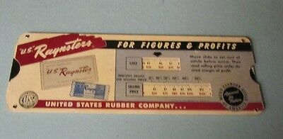 Vintage US Rubber Company Raynster 100% Waterproof Clothing Slide Rule Tool