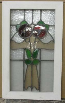"MID SIZED OLD ENGLISH LEADED STAINED GLASS WINDOW Gorgeous Floral 14.75"" x 24.5"""