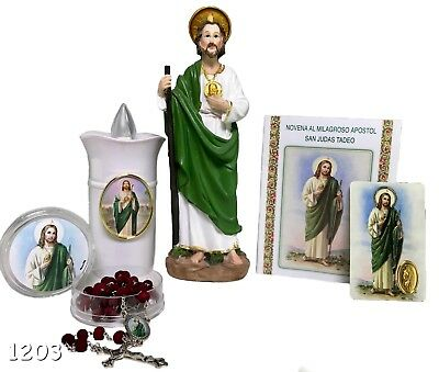 "San Judas 8"" Brand New Candle,prayer,rosary, & Statue Brand New Religious Figure"