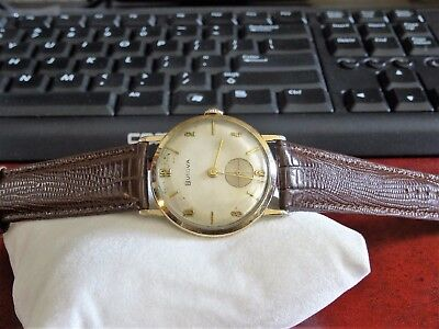 Vtg 1956 Bulova 10K Rolled Gold Plate Mens Watch w/ 18mm Genuine Leather Band!
