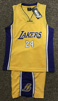 Kids Basketball Jersey #24 Kobe Bryant Lakers 1 Sets Yellow Top,shorts