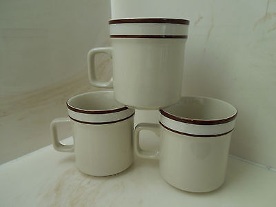Ambiance Collection Stonewares Coffee Cups Mugs - Lot of 3 Brown Stripe