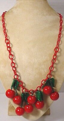 Vintage Celluloid RED Chain Red Fruit Bakelite Cherries Charm Necklace   Cherry