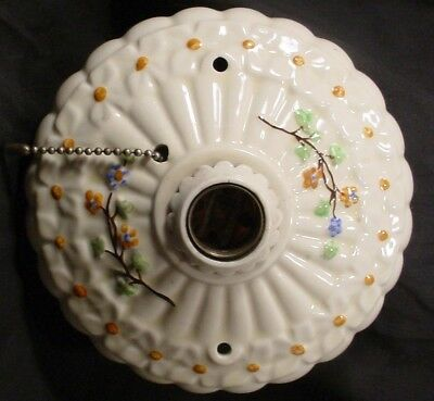 Antique Single  Light Porcelain Flush Mount Ceiling Fixture Porcelier  Flowers