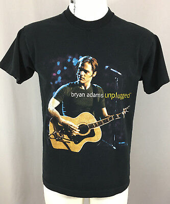 Vintage Black Brian Adams Unplugged Tour Heavy Cotton T-Shirt Size Large