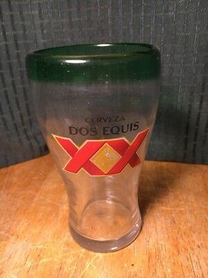 "Dos Equis | Handblown Glass | Green Rim | 3"" Diameter 