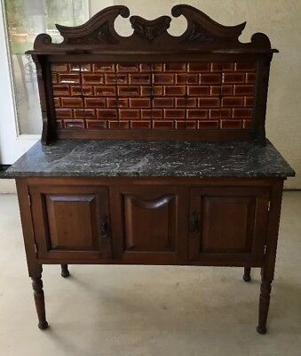 Antique Marble Top Wash Stand TILE East Lake ? BAR Victorian ? PLANT STAND Table