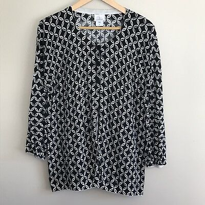 Oh Baby By Motherhood Cardigan Sweater 3 Button Black White Maternity XL