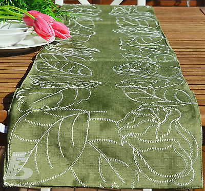 """Green Modern Table Runner, Double Layer, Embroidery, 32x175cm (13""""x70"""") FFD033G"""