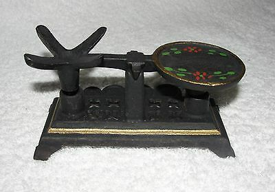 """Miniature Vintage Rare Wilton 2 piece cast iron scale-Hand painted-2 3/4"""" tall"""