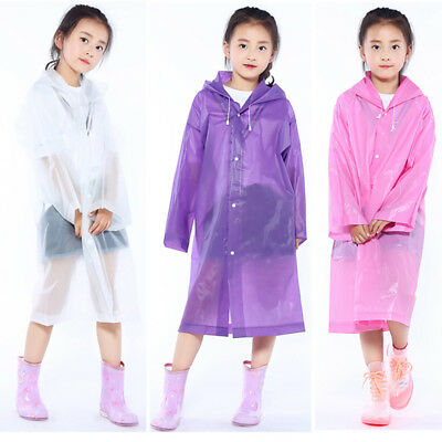 CO_ Kids children Rainwear Waterproof Hooded Rain Coat Outwear Poncho Raincoat G