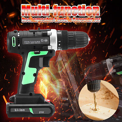 21V Electric Cordless Screwdriver Driver Drill Power Tool Lithium Rechargeable