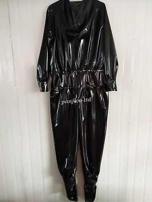 Latex Gummi Rubber Cool Fashion Catsuit Hooded Full Body Real Shot Size:XXS-XXL