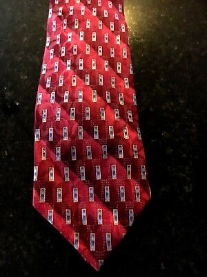 JOS A BANK Men's Tie Red Blue & Gold Geometric Print Silk Necktie 59 x 3.5 in.