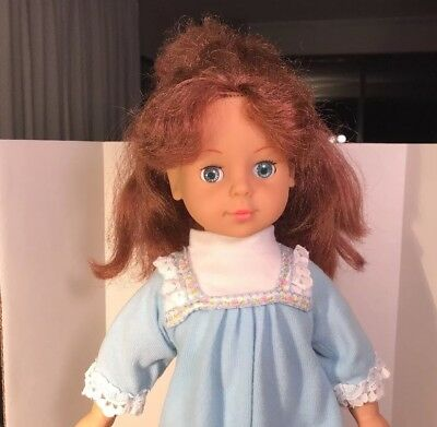 """Vinyl Doll Rooted Long Brown Hair Blue Sleep Eyes Soft Cloth Body 15"""" Unmarked"""