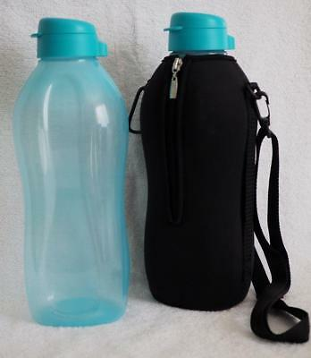 Tupperware 2 litre Round Eco H2O Sports Bottle - Blue OR Cover- Black- New