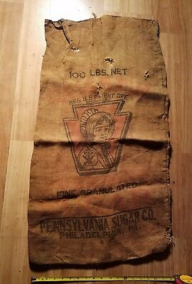 VINTAGE Sugar Bag - Cloth - Quaker Pennsylvania Sugar Co. Philly - 100 Lb  Sack