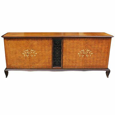 Fine French Art Deco Palisander, M-O-P, Jules Leleu style Sideboard AS IS
