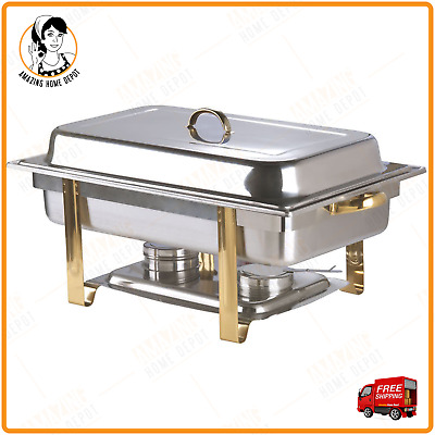 8 Qt. Gold Accent Chafer Stainless Steel Chafing Dish Full Size Buffet Catering